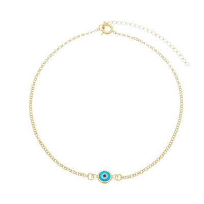Tornozeleira olho grego banhada em ouro 18k