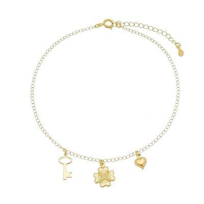 Tornozeleira trevo/ chave e coração banhada em ouro 18k