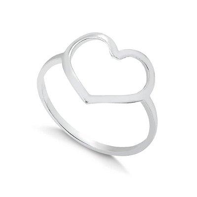 Anel Coração Vazado Banhado em Prata