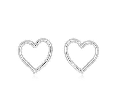 Brinco Coração Vazado Banhado em Prata
