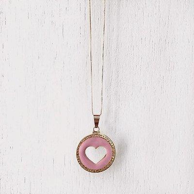 Colar Coração Resina Rosa Banhado em Ouro 18k