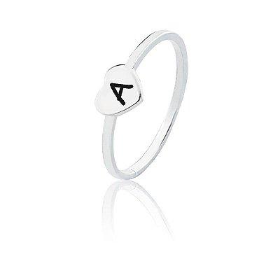 Anel personalizado coração letra A - Prata 925