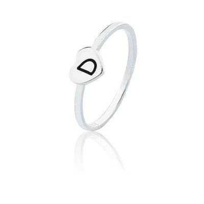 Anel personalizado coração letra D- Prata 925