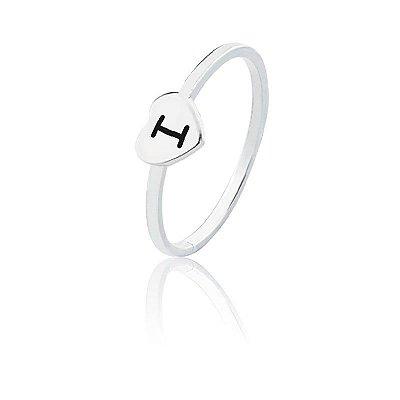 Anel personalizado coração letra I- Prata 925
