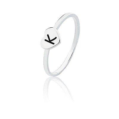 Anel personalizado coração letra K- Prata 925