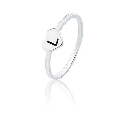 Anel personalizado coração letra L- Prata 925
