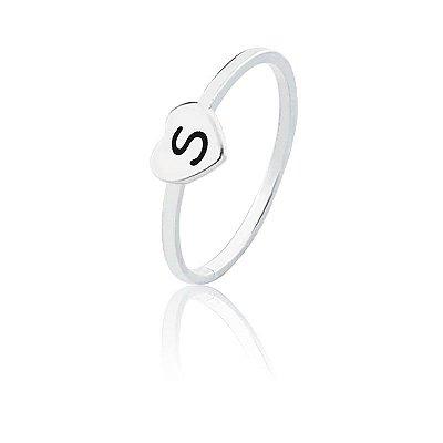Anel personalizado coração letra S- Prata 925