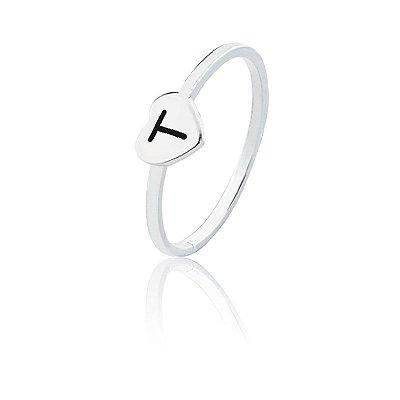 Anel personalizado coração letra T- Prata 925