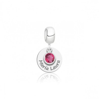 Berloque Personalizado Nome com Pedra Rosa - Prata 925