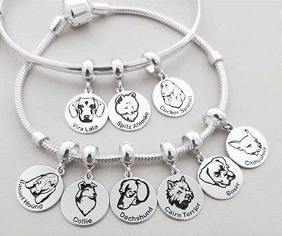 Berloque Personalizado Raça Cachorro - Prata 925