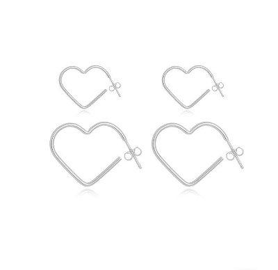 Kit Brinco argola coração Banhado em Prata