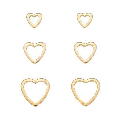 Kit de Brinco Coração Vazado Banhado em Ouro 18k