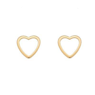 Brinco Coração Vazado G Banhado em Ouro 18k