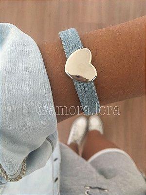 Pulseira Jeans Coração AMORALORA Ref.448