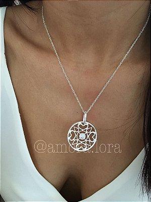 Colar Mandala Coração - Banho de Prata - Ref.48
