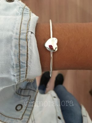 Bracelete Coração - Prata 925 -Ref.441