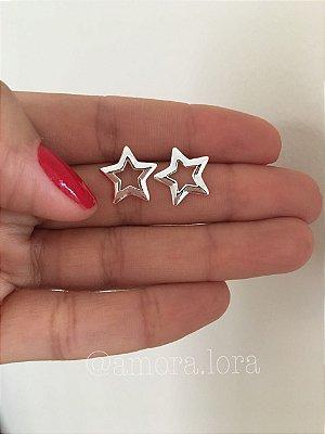 Brinco Estrela - Banho de Prata - Ref.447