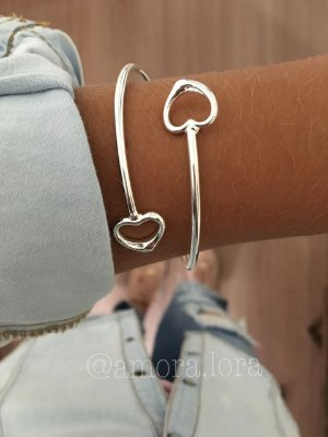 Bracelete Dois Corações - Banho de Prata -Ref.483
