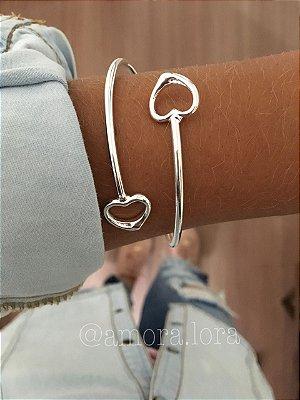 Bracelete Dois Corações - Prata 925 -Ref.483