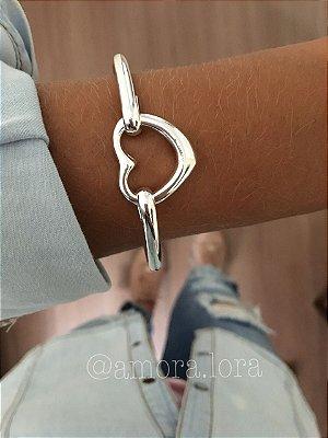 Bracelete Coração Solitário - Banho de Prata -Ref.484