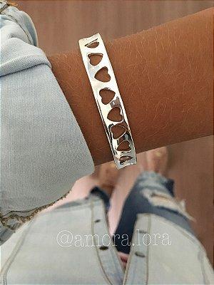 Bracelete Multi Corações - Banho de Prata -Ref.485