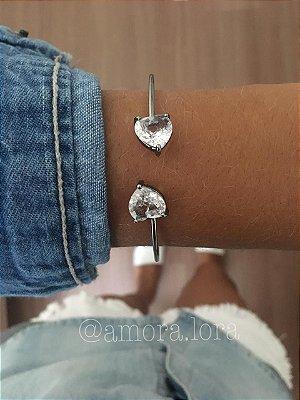 Bracelete Dois Corações Chumbo Ref.596