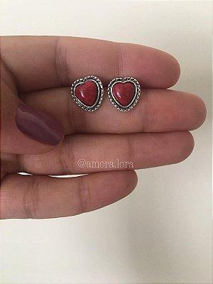 Brinco Boho Coração Vermelho Ref.1375