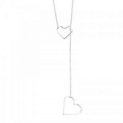 Gargantilha Gravata Coração Prata 925 Ref. GA12