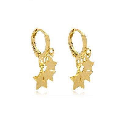 Brinco Mini Argola Estrelas Folheado Ouro 18K Ref: BS11S