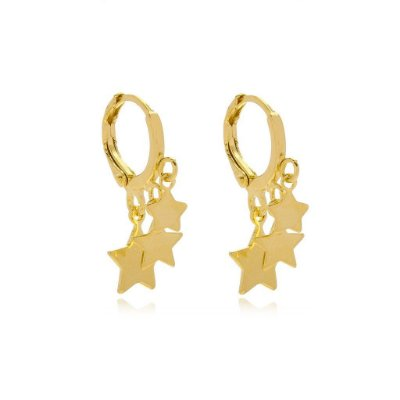 Brinco Mini Argola Estrelas Banhado Ouro 18K