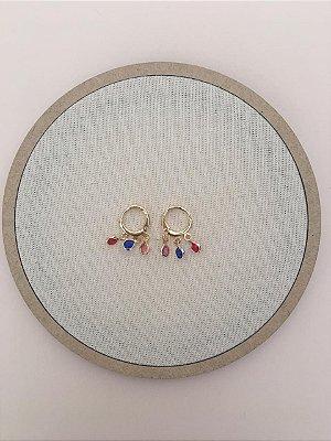 Brinco Mini Argola Pedras Color Folheado Ouro 18K Ref:BR12S