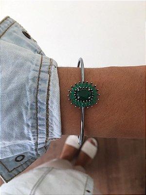 Bracelete Chumbo com pedra verde Ref.P017
