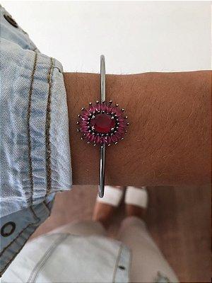 Bracelete Chumbo com pedra vermelho