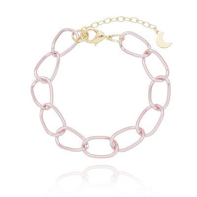 Pulseira com elo oval rosa (30111)
