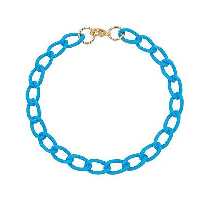 Pulseira elo cadeado pequeno azul claro (30139)