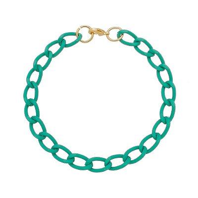 Pulseira elo cadeado pequeno verde (30137)