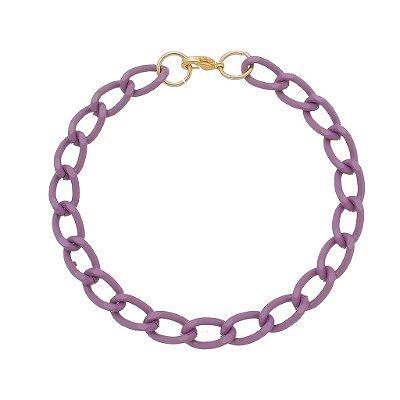 Pulseira elo cadeado pequeno lilás (30136)