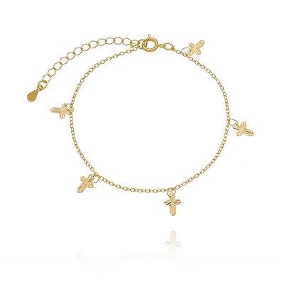 Pulseira cruzes folheado ouro 18k (30132)