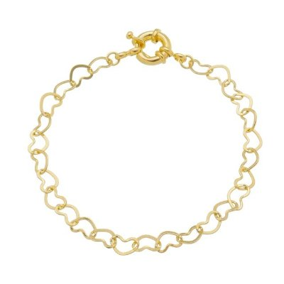 Pulseira elos corações com fecho boia banhado em ouro 18k / prata / ródio branco (30123)