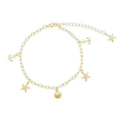 Pulseira ancora/ estrela/ concha folheado ouro 18k (30108)