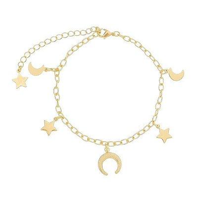 Pulseira estrela/ lua/ chifre folheado ouro 18k (30107)