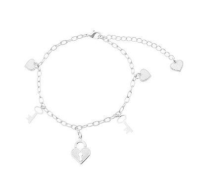 Pulseira coração/ chave/ coração cadeado banhado em ouro 18k / prata / ródio branco (30104)