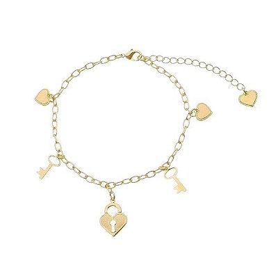 Pulseira coração/ chave/ coração cadeado folheado ouro 18k (30104)