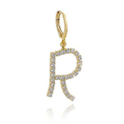 Pingente click letra com pedras banhado em ouro 18k / prata / ródio branco
