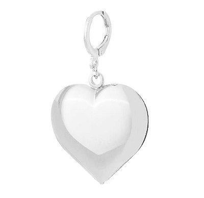 Pingente coração liso banhado em ouro 18k / prata / ródio branco (70108)