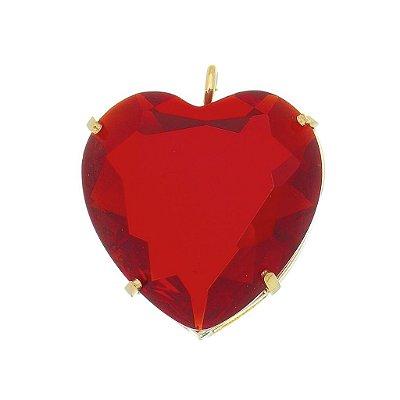 Pingente coração zircônia banhado em ouro 18k / prata / ródio branco (70104)