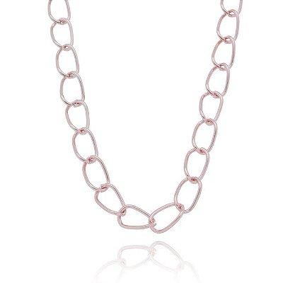 Colar elo oval rosa (20160)