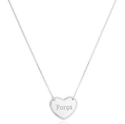 Colar coração força banhado em prata ou ródio branco