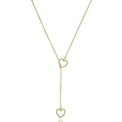 Colar gravata coração banhado em ouro 18k / prata / ródio branco (20107)
