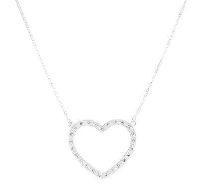 Colar coração zircônia banhado em ouro 18k / prata / ródio branco(20139)